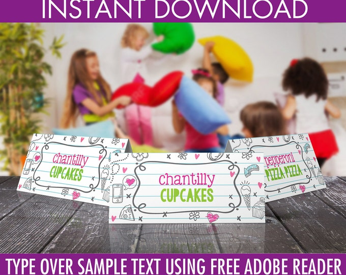 Pajama Party/Sleepover Food Labels - Donuts & Pajamas, Table Tents, Teen Party, PJ Party | DIY Editable Text Instant Download PDF Printable