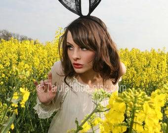 Lace bunny ears Headband - Black lace bunny ears headband - Talulahblue.