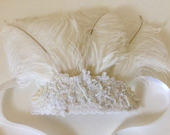 White feathers beaded bridal headpiece, tribal festival headband.