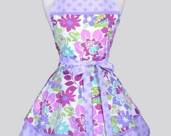 Ruffled Retro Womans Apron , Purple Lavender Pink White Spring Floral Flirty Cute Retro Vintage Style Flirty Kitchen Apron to Personalize