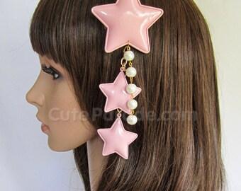 Pink Lolita Star Hair Clip/Brooch with White Pearls- Fairy Kei / Decora / Kawaii / Shooting Star / Hair Accessory