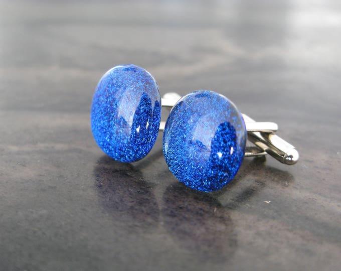 Blue cufflinks, glass cufflinks, Cuff Links, Wedding Cufflinks, Cufflink, Cuff Links, Cufflinks, Mens Accessories, groomsman gift