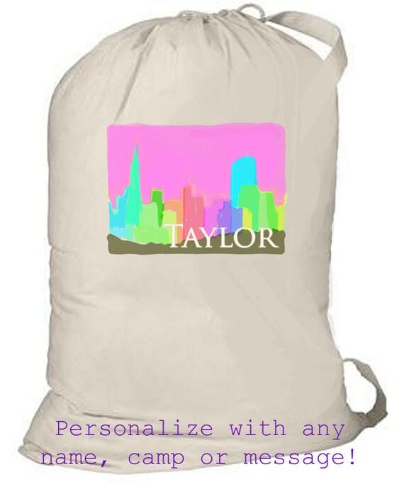 Laundry Bag, Monogrammed Laundry bag, laundry totebag, graduation gift, grad gift, summer camp bag, overnight bag, family travel laundry bag