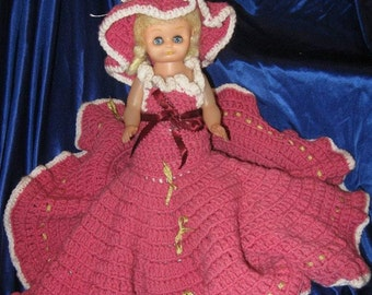 Vintage PINK Crocheted DOLL and  DRESS, Hand crafted, Gold Ribbon, White trim, Petticoats, Southern Belle, Quinceanera, Sweet 16, Blue Dress