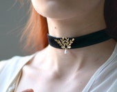 Victorian choker, gilded necklace, velvet choker, black ribbon choker, goth bride, gold necklace, jewelry, chokers, bridal accessory