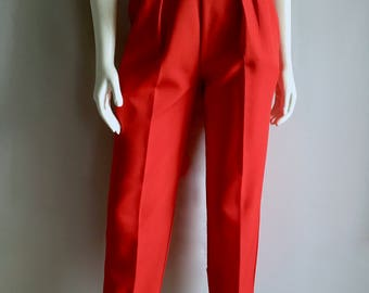 Vintage Women's 80's Pleated Red Pants, High Waisted, Tapered by Slender Magic (M)