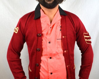 Vintage 50s Varsity Letterman Red Campus Wool Cardigan Sweater -  Lasley Knitting Co. Seattle