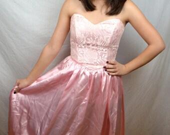 Vintage 80s Zum Zum Pink Lace Strapless Princess Dress