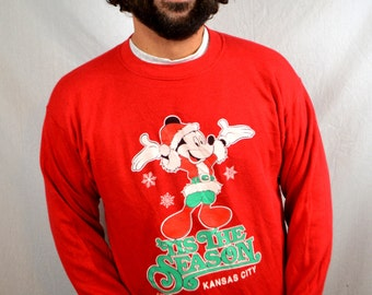 Vintage 80s Mickey Mouse Santa Christmas Red Walt Disney Holiday Sweatshirt- Velva Sheen Kansas City Souvenir