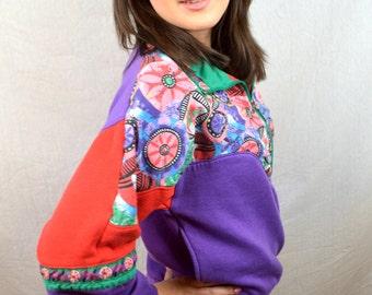 Vintage 80s Rainbow Jacket Pullover Sweatshirt - Casual Isle