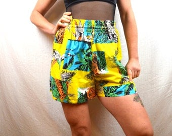 Vintage Tropical Tiger Summer Shorts