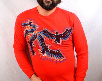 Vintage 1980s 80s Red Eagle Tshirt Long Sleeve Tee Shirt