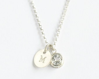 April Birthstone and Initial Necklace Sterling Silver / Bezel Set White Topaz / Personalized Birthstone Jewelry