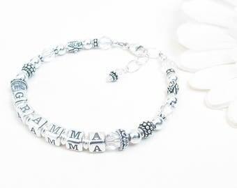 Grandmother Bracelet // Nana Bracelet // Grandma Bracelet // Mothers Bracelet // Mimi Nonna or Gigi Bracelet // Birthstone Bracelet