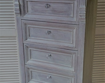 Lingerie Chest Vintage Style /in Shabby French Whitewash Poppy Cottage Painted Furniture OR Custom PAINT to ORDER