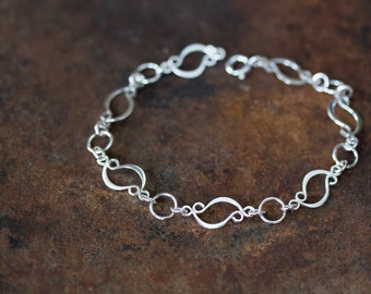 Sterling Silver Link Chain Bracelet, Handcrafted unique artisan jewelry, elegant hammered marquise leaf shape links, silversmith metalwork
