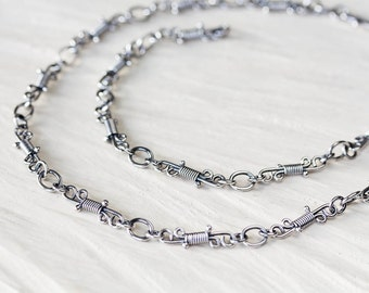 Artisan handmade sterling silver chain necklace, Small wrapped links, unique layering necklace, silversmith jewelry