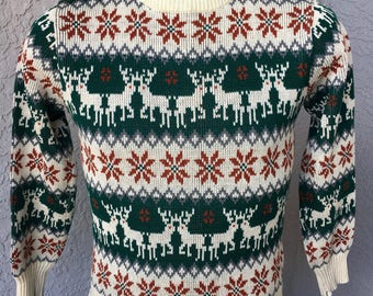 Oh Deer 1980s vintage ugly sweater contest winner - size small