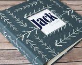 Baby Book, Baby Gift, Baby Album, Baby Memory Book, Baby Keepsake, Modern Baby Book, Blue/Grey Arrows