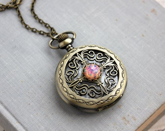Fire Opal Pocket Watch Necklace. Gift for her under 30 usd.