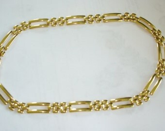 Monet Chain Link Necklace  Gold Tone