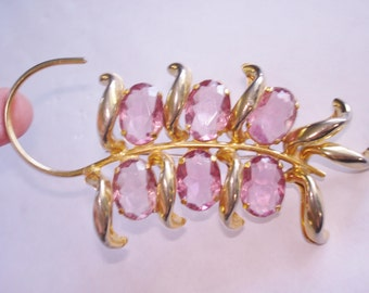 Brooch Flower Pink Gold Tone