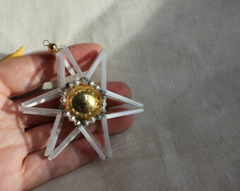 Mercury Glass Star Czechoslovakian Beads Ornament Christmas Tree Vintage by Plantdreaming