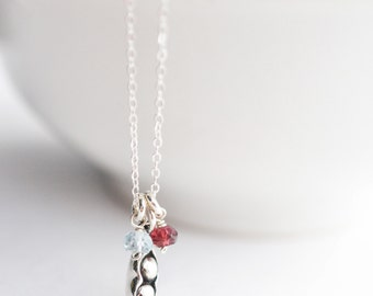 Two Peas in a Pod Necklace - Mothers Day Gift Ideas - Sterling Silver Peapod Necklace - Mom Necklace with Birthstones - Mommy Gift
