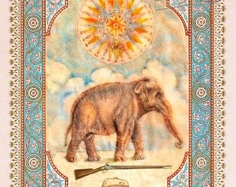 Shooting an Elephant, Kabbalah, Print of Ink Drawing on teabag, teabag art, elephant drawing, George Orwell