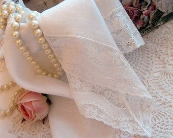 Two Bridal Handkerchiefs, Hanky, Hankies, Lacy Hankies, Antique, Collectable, Wedding Hanky, Pocket Hankies, by mailordervintage