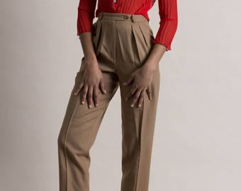 Vintage 90s Camel Wool Pleated Trousers / High Waist Tapered Pants / 2