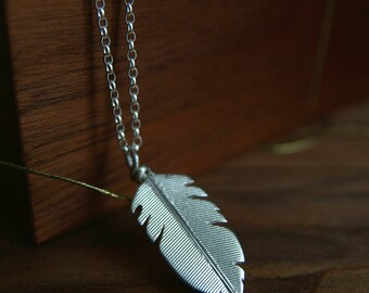 Silver Feather Necklace, Feather Pendant, Boho Silver Jewelry, Nature Jewelry, Sterling Silver Necklace, Handmade in UK