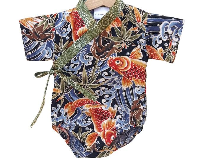 Koi Fish Kimono Baby  - Japanese inspired baby outfit jinbei bodysuit