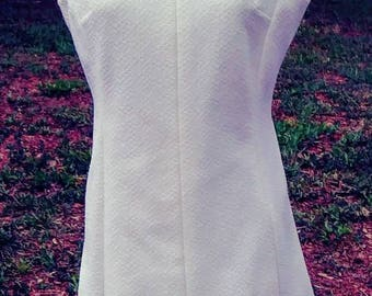 1960s White Day Dress Office to Dinner Dress Size Large /Volup/Curvy