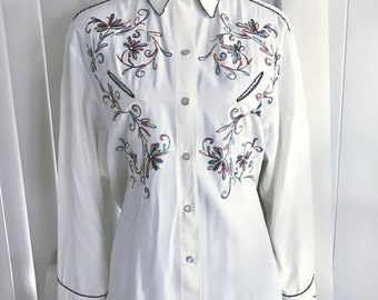 Yeehaw!  Fabulous Vintage Chainstitches Western Cowboy Cowgirl Shirt