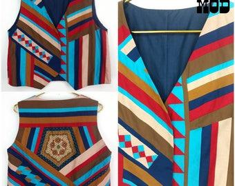Bold Vintage 70s Blue, Brown, Red Quilted Geometric Boho Vest!