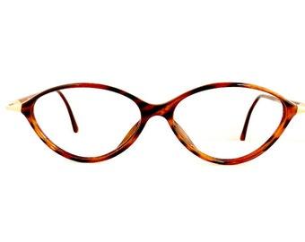 90s Christian Dior Eyeglasses Frames Women's 1990's Tortoiseshell with Gold Oval Shape Frames #M569 DIVINE (EB)