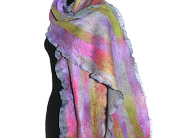 Handmade Nuno Felted Scarf Soft Multicolor Felt Long Scarf OOAK Felt Gift Hand Dyed Spring Accessory