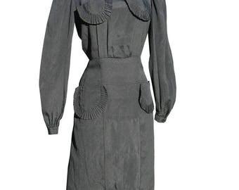 Vintage 30s Dress 1930s L 42 bust 35 waist Ruffled Pockets Home Sewn