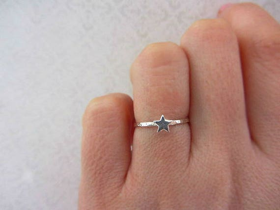 Tiny star ring, Silver star ring, Stacking ring, Hammered ring, Gift for her