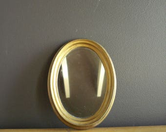 Pretty Gold Mirror - Small Oval Framed Vintage Mirror - Made in Italy