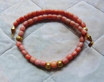 Antique natural pink coral necklace, Yemen coral. untreated, 34 g, gold beads