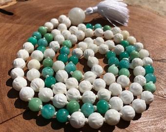 Tridacna shell mala, Moonstone mala, Amazonite mala