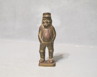 Vintage Chubby Old Man Smoking a Pipe Brass Figurine / Fisherman Sea Captain Aged Statue Seaman Small Sculpture Rustic Primitive Home Decor
