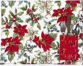 4 Quilted Christmas Placemats, Reversible Holiday Table Decor, Christmas Present, Hostess Gift, Poinsettias Reindeers : Set of 4