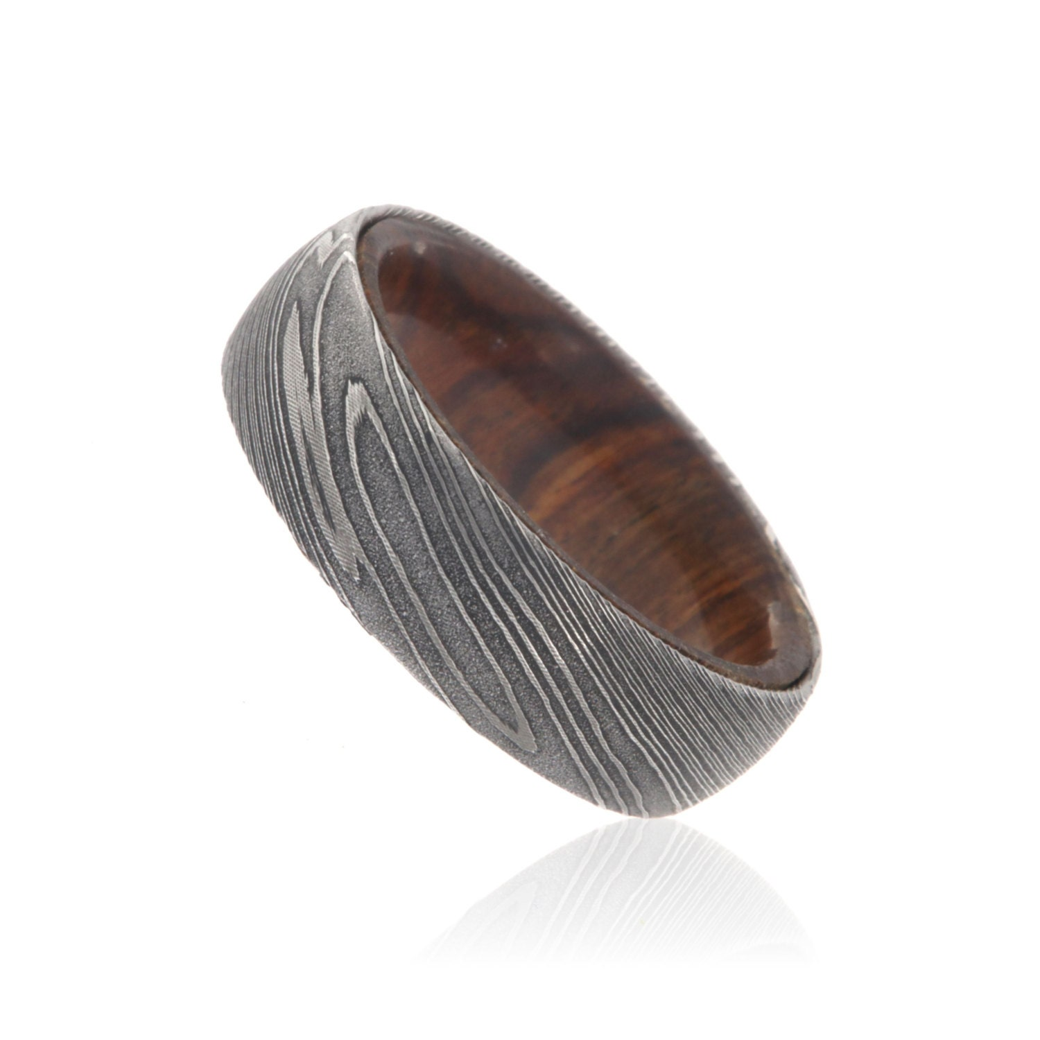 7mm Wide Damascus Steel Ring Etched Damascus Steel Bands