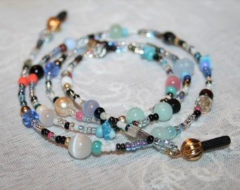 Beaded Eyeglass chain,Holiday Gift,Spectacles Chain,Glasses Holder,Pastel Blue,Mothers Gift,Eyeglass string,Handmade OOAK,Glasses Accessory
