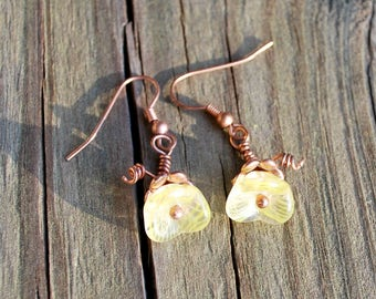Copper and Yellow Flower Earrings
