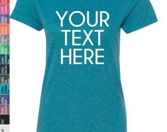 Custom Made Anvil - Women's Triblend Scoopneck T-Shirt - 6750L Vinyl or Glitter Print Customized All Colors