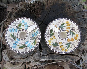 Tenerife Pottery Candlestick Holders Vintage Set of 2 Candle